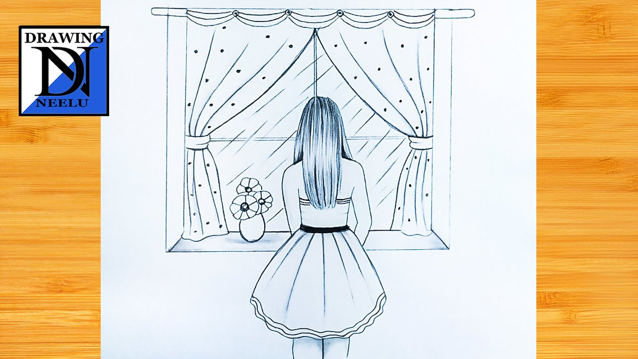 How to draw a girl Looking window rainy season   step by step Pencil drawing tutorial   Easy drawing