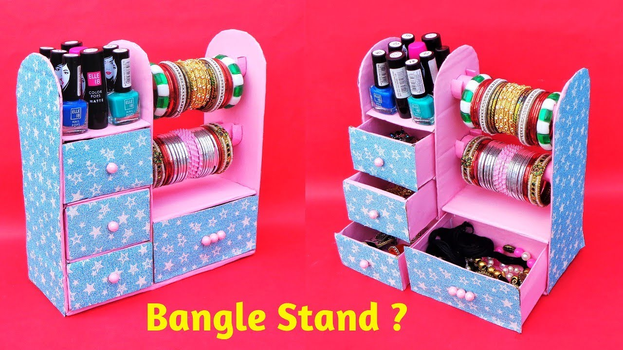 How to make Bangle Stand at home with waste cardboard | Best out of waste | DIY Jewellery Organizer