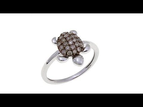 33ctw Champagne Diamond Turtle Sterling Silver Ring