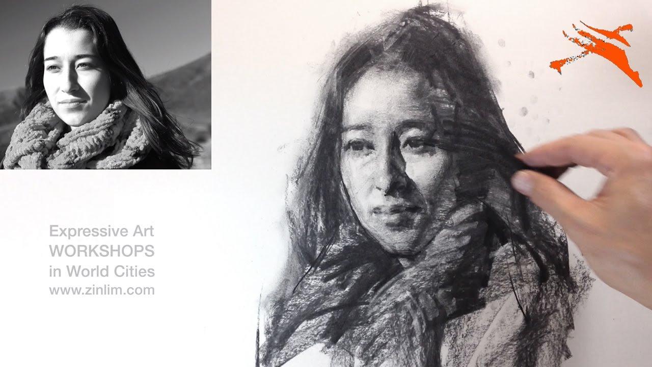 👩🎨Charcoal Drawing Demo: Impressionism Portrait.