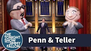 """Penn & Teller Pull Off Their """"Flates"""" Card Trick Rocking Inflatable Suits"""