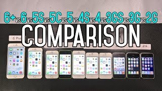 iPhone 6 Plus vs 6 vs 5S vs 5C vs 5 vs 4S vs 4 vs 3Gs vs 3G vs 2G Speed Comparison Test