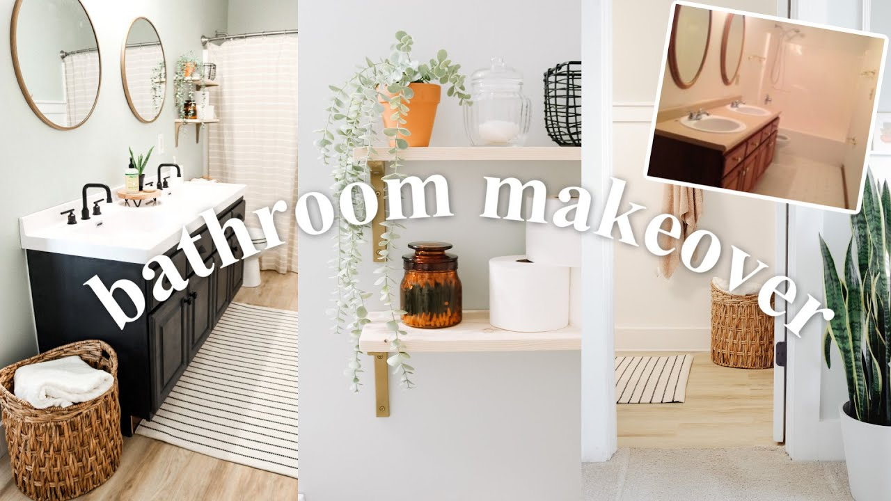 DIY BATHROOM MAKEOVER ON A BUDGET! | Painting, Flooring, Vanity