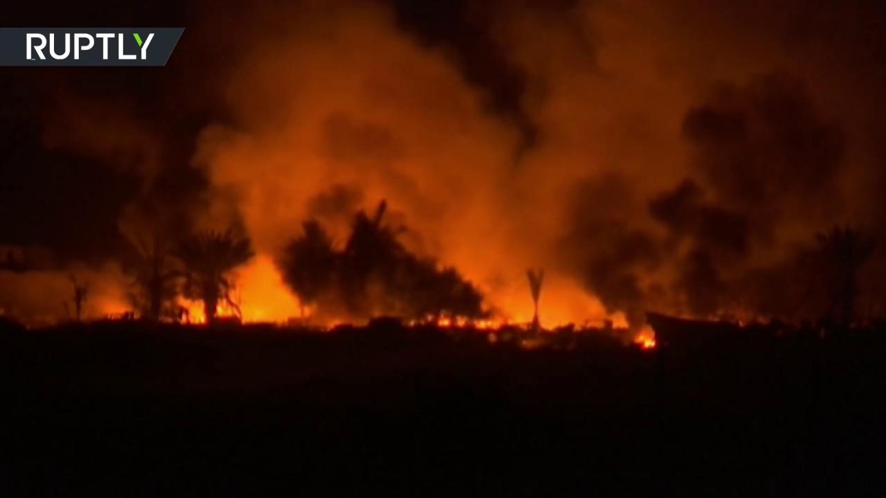 Ночной обстрел Аль-Багуза отрядами Сирийских демократических сил