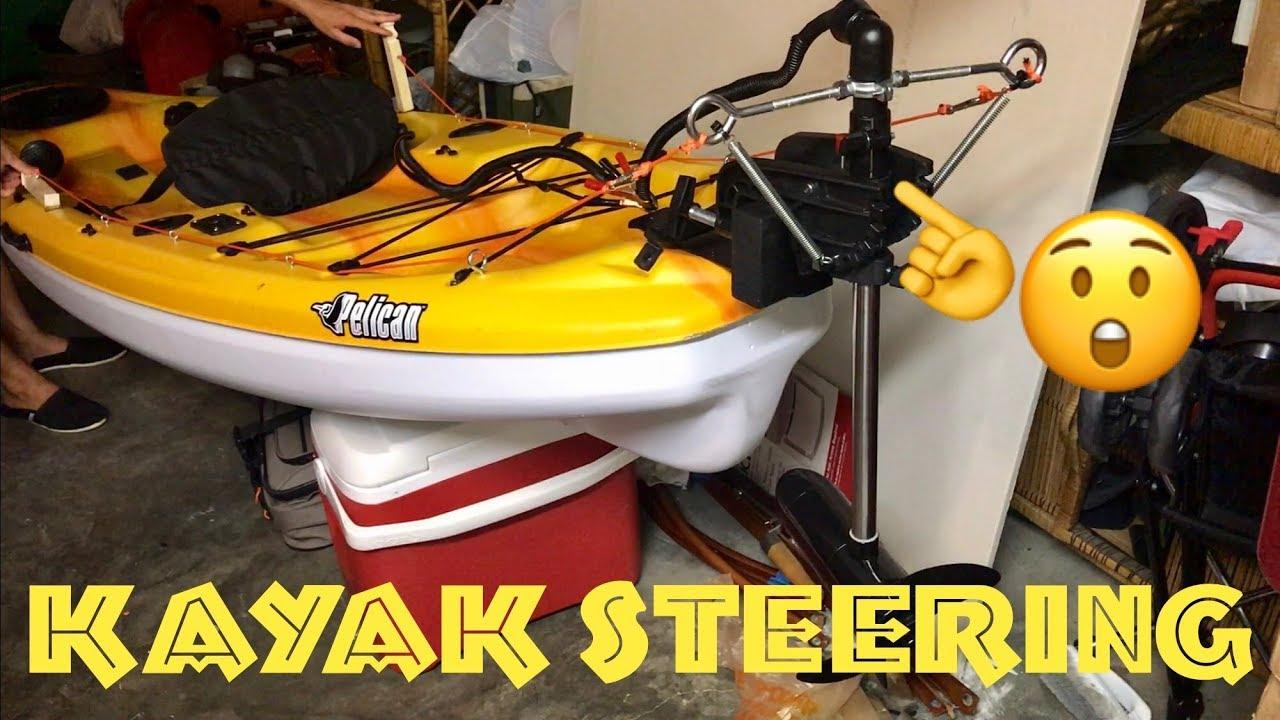 ⭕️Kayak Steering System Setup (Part 1) | Trolling Motor Mounted to Pelican  Icon 100x Angler Kayak
