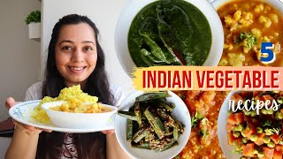 5 Indian VEGETABLE Recipes: Subzi recipes for Indian Lunch / Dinner (without onion / garlic)