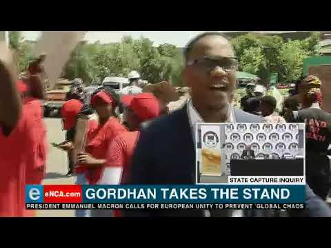 EFF, BLF protest at state capture inquiry ahead of Gordhan testimony
