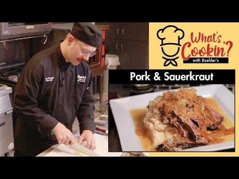 braised pork loin with sauerkraut and onions