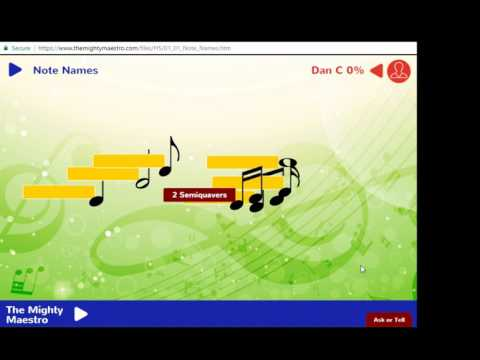1.1 Note Names - Crotchet, Quaver, Semiquaver, Minim and Semibreve - The Mighty Maestro Help Vids