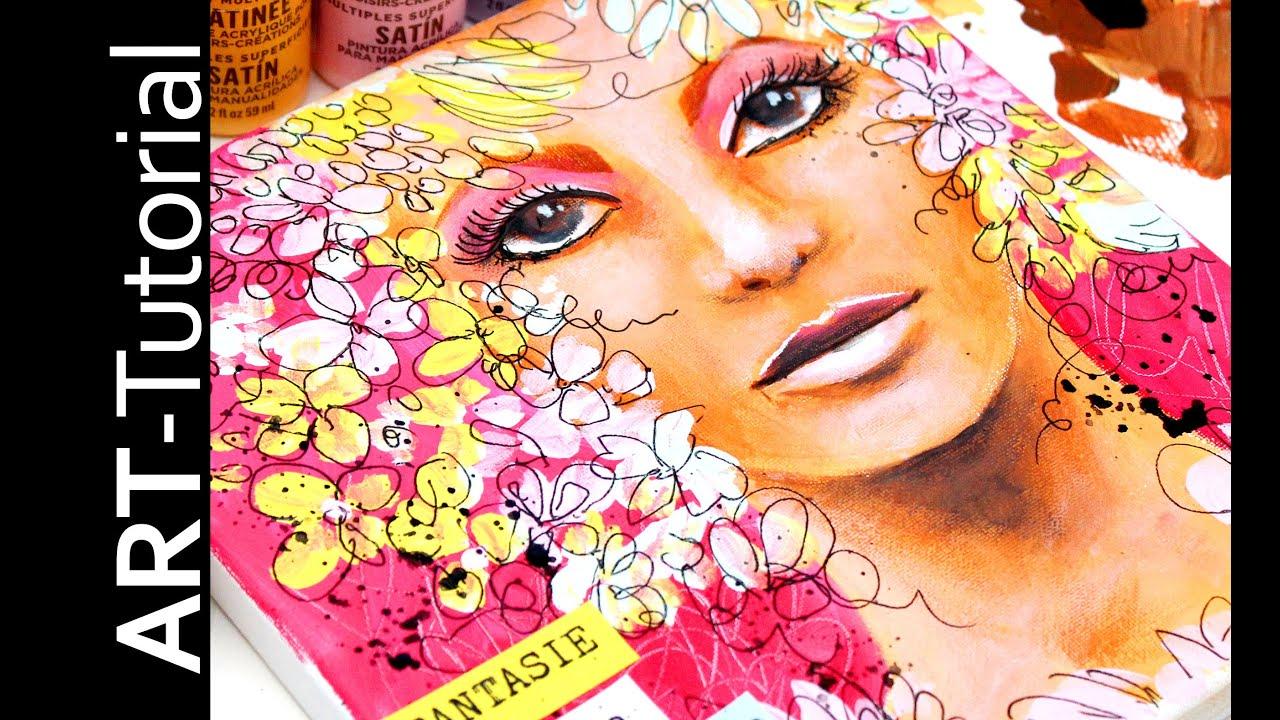 Fantasie Portrait In Acryl Mit Martha Stewart Farben Painting