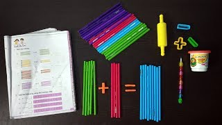 Girl Teaching Number Additions with Pencils   Learn Additions for Children's