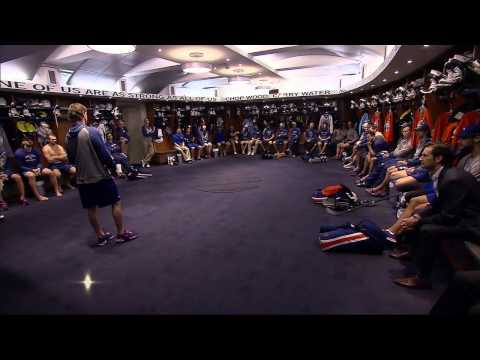 Ryan Smyth addresses team in locker room