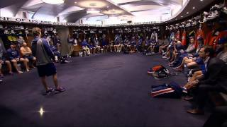Ryan Smyth addresses team in locker room