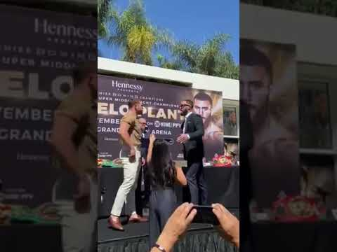 Canelo Alvarez, Caleb Plant trade punches at news conference for ...