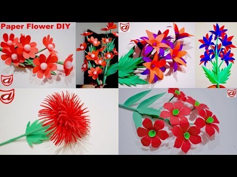 4 Easy to Make Paper Flowers | DIY Genius Paper craft ideas for Room Decoration