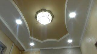 НАТЯЖНОЙ потолок СВОИМИ руками  УСТАНОВКА ЛЮСТРЫ на натяжной потолок