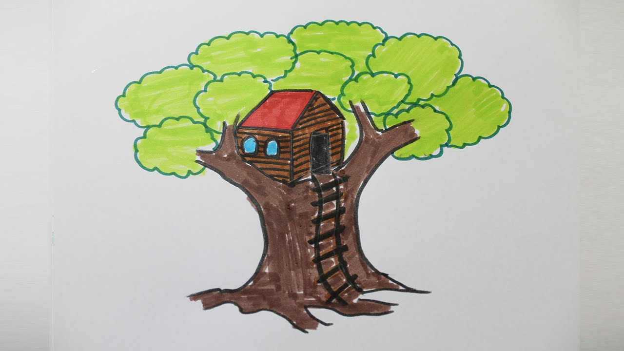 How to draw a treehouse step by step youtube for How to build a treehouse step by step