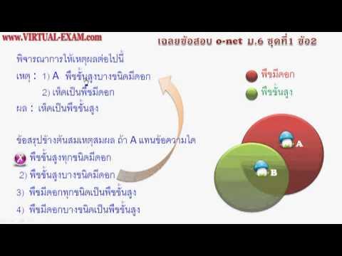 เฉลยข้อสอบคณิตศาสตร์ O-NET ม.6  ชุด 1 ข้อ 2