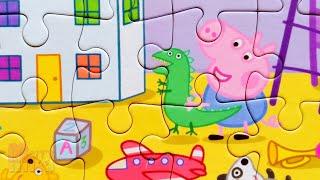 Пеппа и Джордж с динозавриком - Собираем пазлы для детей Свинка Пеппа | Merry Nika