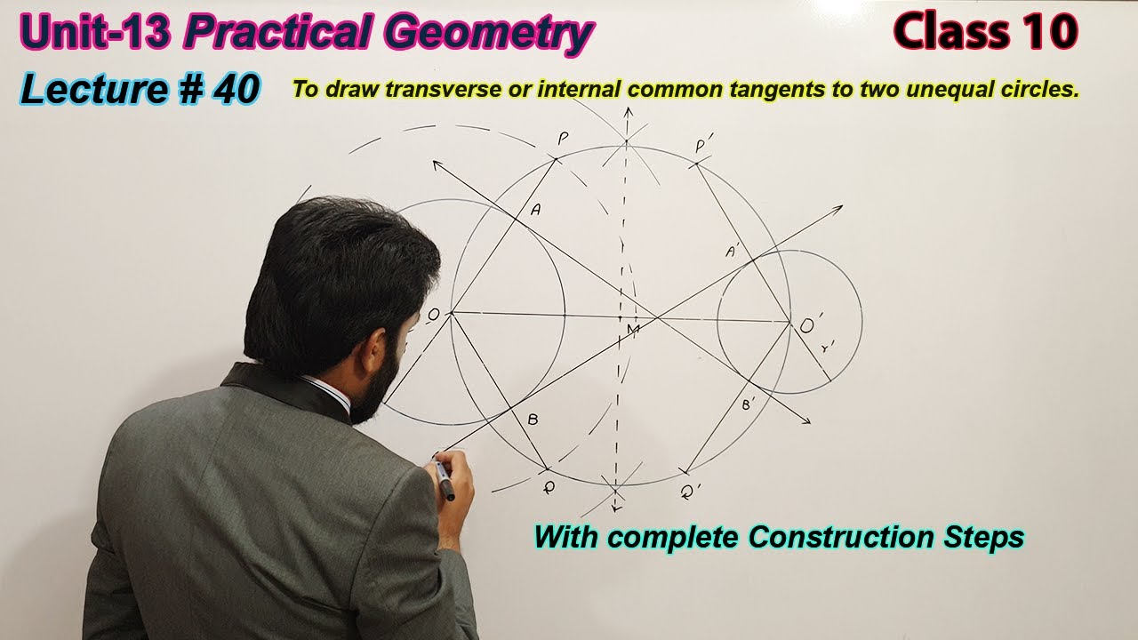 40-To draw transverse or internal common tangents to two unequal circles | Class 10 | geometry