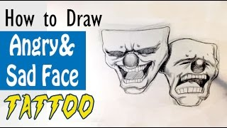 How to Draw Angry and Sad Tattoo - Tattoo Drawings