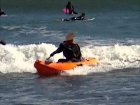 Ocean Kayak Frenzy Sit on Top Kayak in Small Surf.wmv