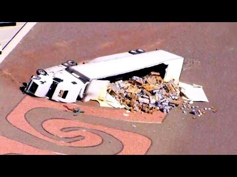 Truck Full Of Beer Rolls Over on Arizona Highway