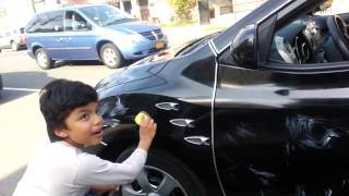 9 year old boy driving dad s car