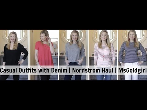 Casual Outfits with Denim | Nordstrom Haul | MsGoldgirl | AD