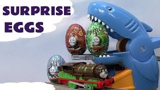 surprise egg thomas friends unboxing like kinder egg surprise toys shark attack set percy james