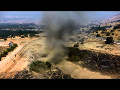 Controlled explosion of land mines in the Golan Heights in 2015