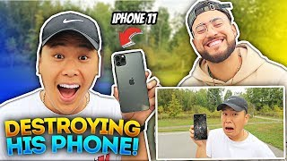 DESTROYING My BestFriend IPHONE, Then BUYING Him The New IPHONE 11 PRO !! (ft. DavidParody)