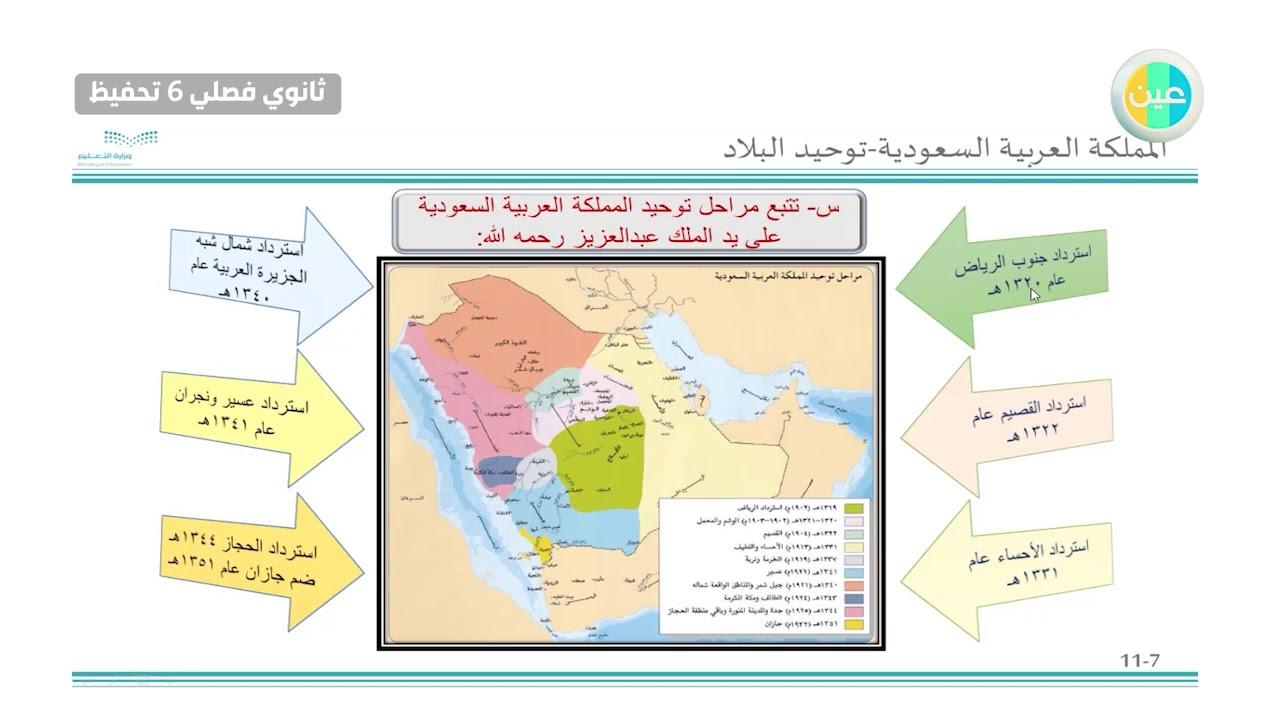 دروس عين المملكة العربية السعودية استرداد الرياض التاريخ والتربية الوطنية ثانوي فصلي 6 تحفيظ Youtube