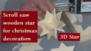 Make a 3D Wooden star on the scroll saw for christmas decoration. Video spoken in German. In Verbindung mit der Dekupiersäge