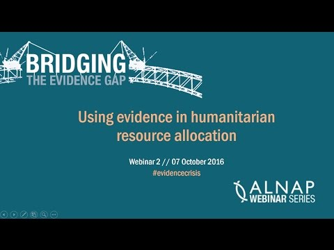 WEBINAR: Using Evidence in Humanitarian Resource Allocation