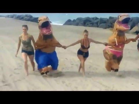 Beach Fun And Prank - T-Rex's In Bikini And Shorts In West Palm Beach
