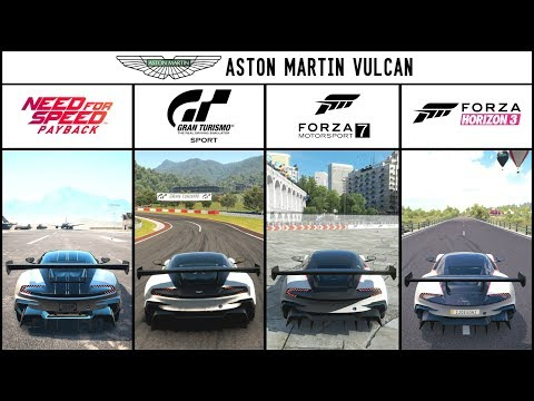 NFS PAYBACK vs GT SPORT vs FORZA 7 vs FORZA HORIZON 3 - Aston Martin Vulcan Comparison