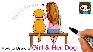How to Draw a cute Girl Hugging her Dog | Back View