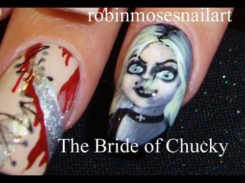 DIY Horror Flm Nails | Bride of Chucky Halloween Nail Art Design