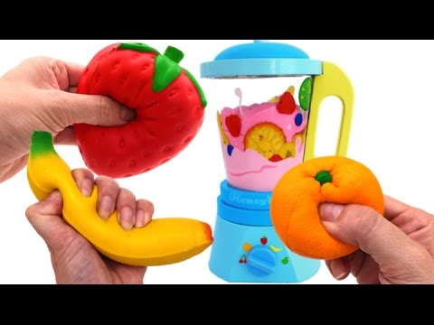 Toy Blender Playset Learn Colors & Fruits with Squishy Toys & Slime for Kids