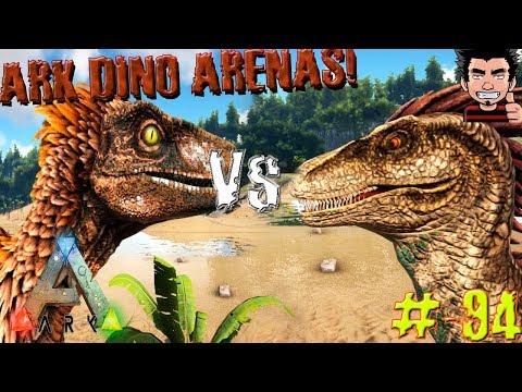 ARK SURVIVAL EVOLVED DEINONYCHUS VS RAPTOR BATALLA ARENA GAMEPLAY ESPAÑOL