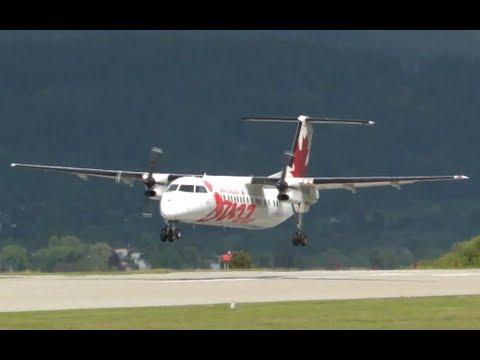 Air Canada Jazz Dash 8-300 landing in Castlegar, British Columbia (CYCG)