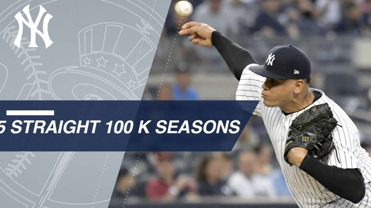 Betances becomes 1st to K 100 in 5 straight seasons