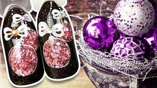 🔴 Ёлочный Шар с Розовыми Блёстками 🔴 Новогодний Дизайн Ногтей Гель-лаком к Праздничному Маникюру