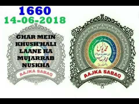 AAJ KA SABAQ NO:-1660. Ghar me khushhali lane ka mujarrab nuskha. By MOLANA YUNUS PALANPURI