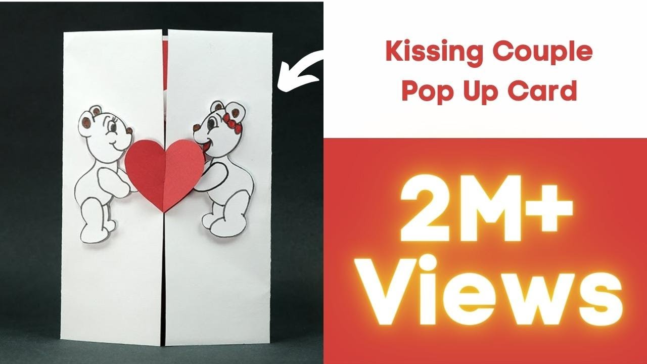 Handmade Valentine DIY Card Kissing Couple Pop Up