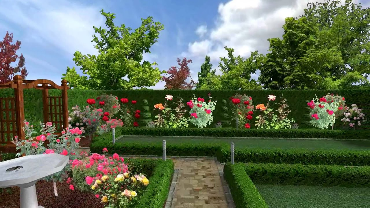 The english rose garden youtube for Garden design with roses