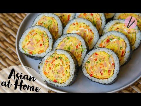 Korean Egg Roll in Rice Roll, Gyeranmari Kimbap