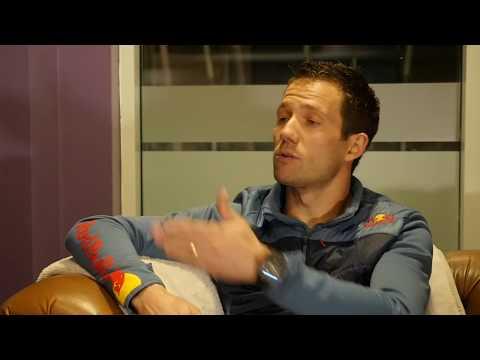Sebastien Ogier talks to David Evans and Colin Clark