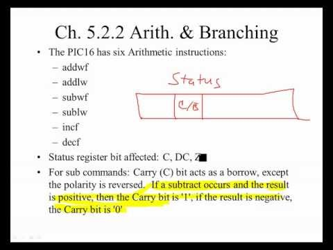 PIC16 Microcontrollers, Unit 25, Ch. 5.2.2; Arithmetic & Branching in Assembly